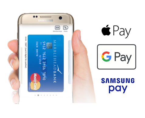 Hand holding a mobile phone beside app logos for Apple Pay, Google Pay, and Samsung Pay