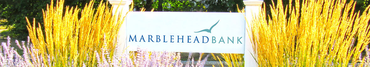 branch sign for Marblehead Bank with pleasant landscaping around it
