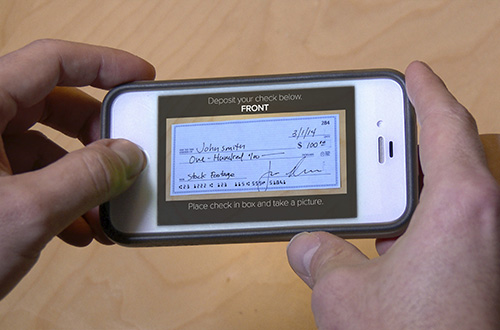 taking a photo of a check with a cellphone